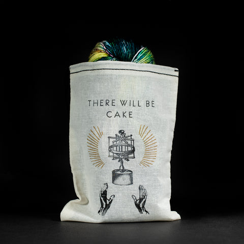 """There Will Be Cake"" Draw String Bag For Yarn Devotion Pleasure"