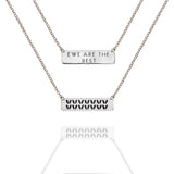 "Porterness Studio Sterling Silver Double Sided ""Ewe Are The Best"" & Stockinette Stitch Motif Necklace"