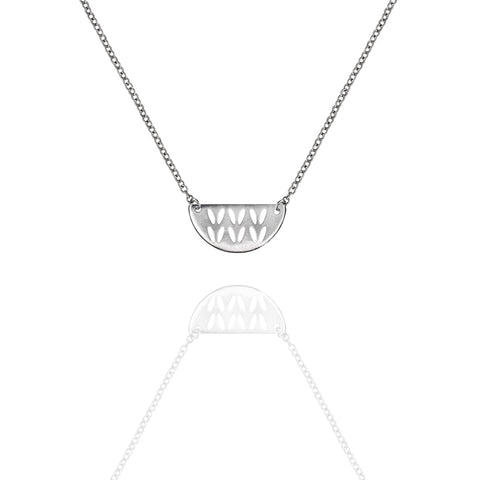 Sterling Silver Open Stockinette Stitch Motif Necklace - Half Round