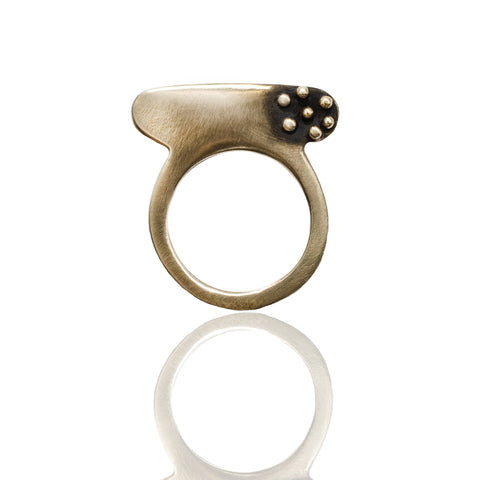 Bronze Seven Dot Silver Slice Ring
