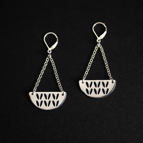 Porterness Silver Stockinette Stitch Motif Earrings - Half Round