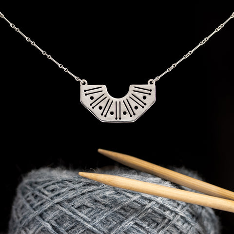 Silver Knitting Needles and Yarn Motif Necklace