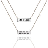 "Sterling Silver Double Sided ""Knit Life"" & Stockinette Stitch Motif Necklace"