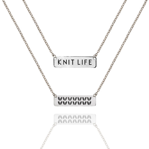 "Porterness Studio Sterling Silver Double Sided ""Knit Life"" & Stockinette Stitch Motif Necklace"