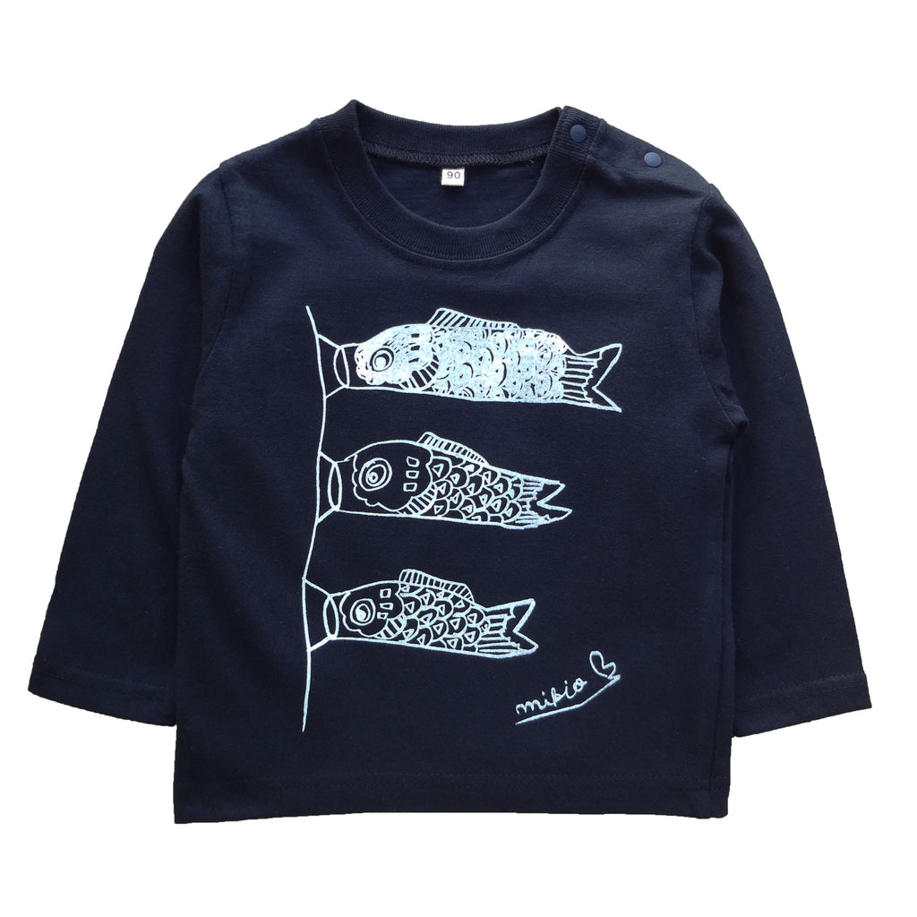 Monocolor Koinobori Baby's Long Sleeve T shirt Navy