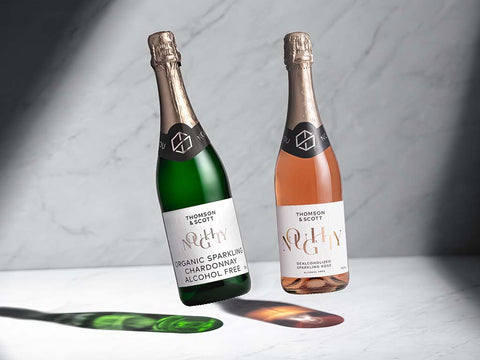 alcohol free noughty rose and sparkling chardonnay
