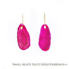Small Agate Slice Gold Earrings