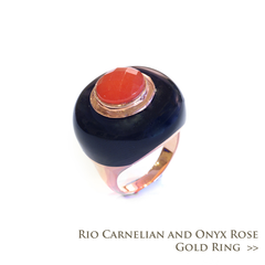 Rio Carnelian and Onyx Rose Gold Ring