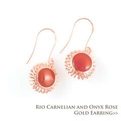 Rio Carnelian and Onyx Rose Gold Earrings