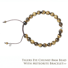 Tigers Eye Chunky 8MM Bead Bracelet with Meteorite
