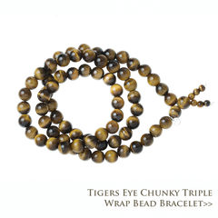 Tigers Eye Triple Wrap Chunky Bead Bracelet