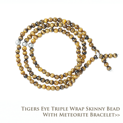 Tigers Eye Triple Wrap Skinny Bead with Meteorites Bracelet