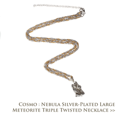 Cosmo Nebula Silver Plated Large Meteorite Triple Twisted Necklace