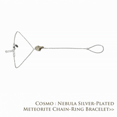 Cosmo Nebula Silver-Plated Meteorite Chain Ring Bracelet