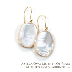 Azteca Oval Mother of Pearl Brushed Gold Earrings