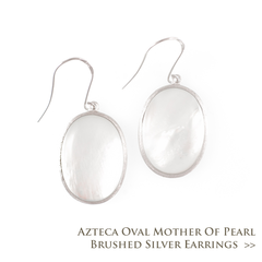 Azteca Oval Mother of Pearl Brushed Silver Earrings