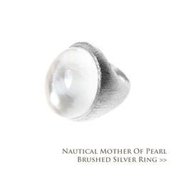 Nautical Mother of Pearl Brushed Silver Ring