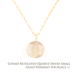 Cosmo Rutilated Quartz David Small Gold Pendant Necklace