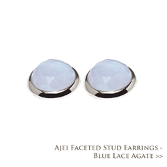 Ajei Faceted Stud Earrings - Blue Lace Agate