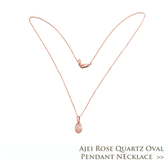 Ajei Rose Quartz Oval Pendant Necklace