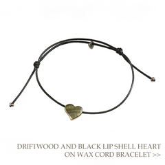 Driftwood and Black Lip Shell Heart on Wax Cord Bracelet