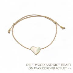 Driftwood and Mother of Pearl Heart on Beige Wax Cord Bracelet