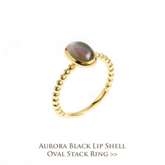 Aurora Black Lip Shell Oval Stack Ring