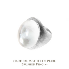 Nautical Mother of Pearl Brushed Ring