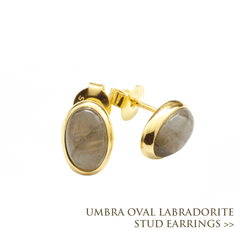 Umbra Oval Labradorite Stud Earrings