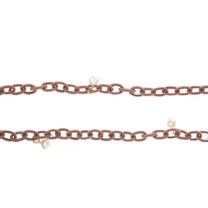 Nautical Copper Fabric Chain with White Pearls