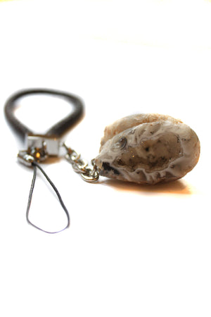 Raw Rock Agate Crystal & Leather Phone Charm