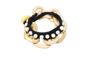 Off-Cuts White Wood Chainlink Black Knit Bracelet