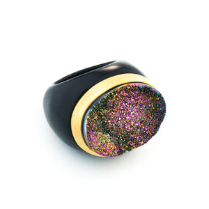Cosmo Drusy Brushed Gold Band in Agate Ring