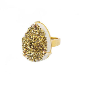 Aurora Droplet Gold Drusy Ring