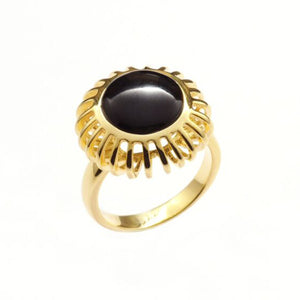 Umbra Small Round Black Onyx Cage Ring