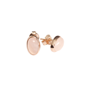 Ajei Rose Quartz Oval Stud Earrings