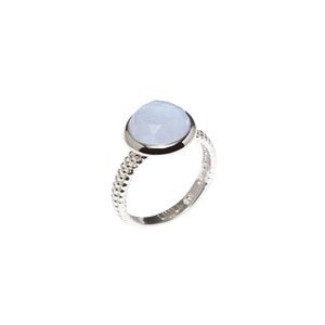 Ajei Blue Lace Agate Round Stack Ring