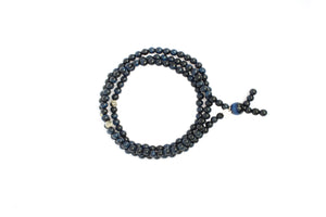 Triple Wrap Skinny Bead Bracelet with Pyrite - Blue Hawks Eye