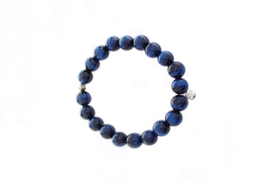 Single Chunky Bead Bracelet with Pyrite - Blue Hawks Eye