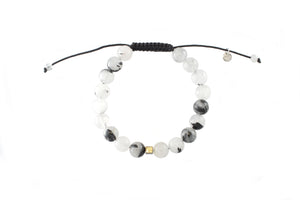 Single Chunky Beaded Bracelet - Black Rutilated Quartz