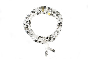 Triple Wrap Skinny Bead Bracelet - Black Rutilated Quartz