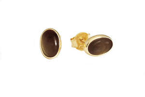 Vida Smoky Quartz Oval Stud Earrings