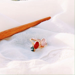 Baies Rose Gold Oval Stack Ring