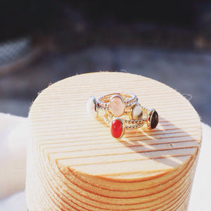 Magic Rouge Gold Oval Stack Ring