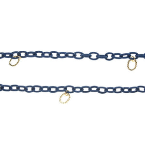 Nautical Fabric Chain with Gold Ovals