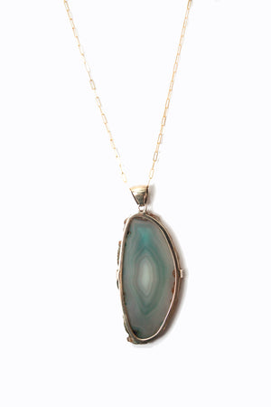 Polished Rock Dyed Agate on Gold Plated Silver Necklace