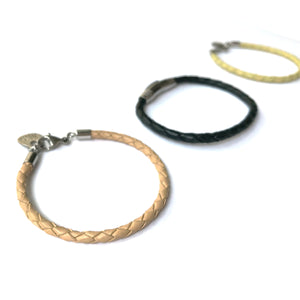 Skinny Leather Steel Clasp Bracelet