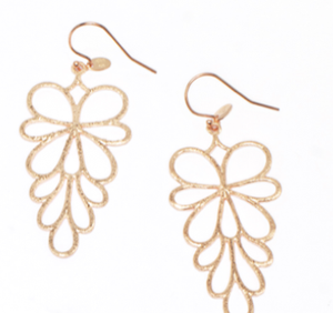 FS Oak Leaf Rose Gold Plated Earrings