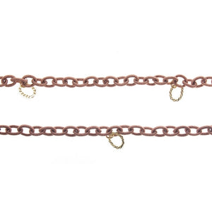 Nautical Copper Fabric Chain with Gold Ovals