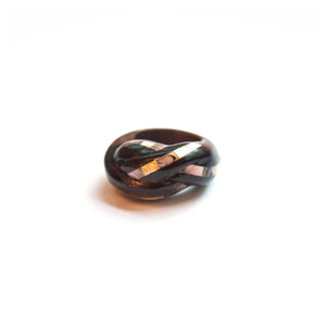 Oxaca Twisted Shell Inlaid Dark Wood Ring